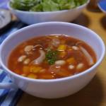 ミネストローネ〜コンソメスープ+にんにく+ケチャップ=トマトスープ!?