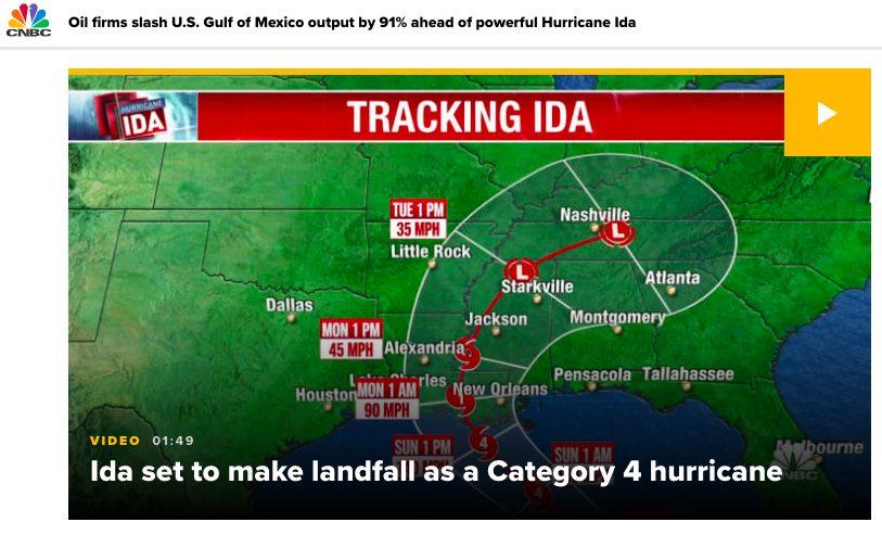 石油会社が米国メキシコ湾の生産量を91%削減 強力なハリケーン アイダの影響