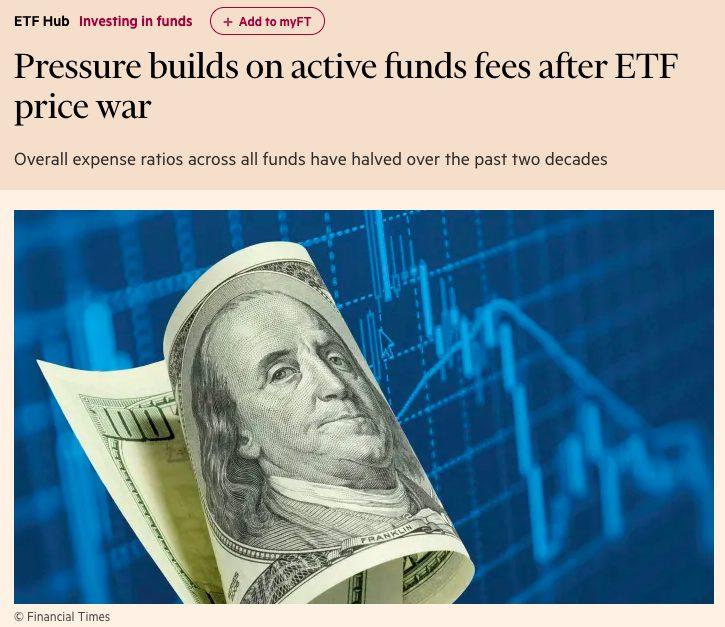 ETFの価格競争の後、アクティブファンドの手数料に圧力がかかる